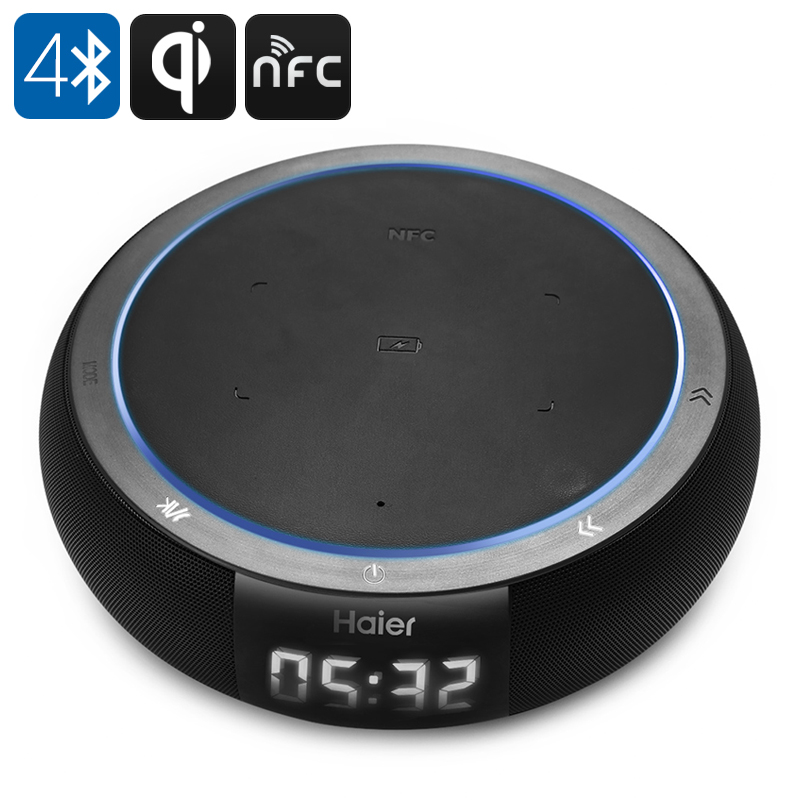 Wholesale Haier QI Wireless Charging Bluetooth Speaker (Microphone, NFC, 360-Degree Audio, 2600mAh)