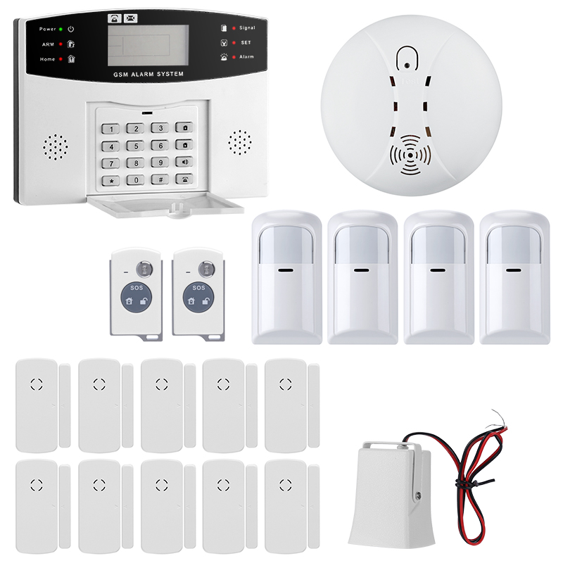 Wholesale 2.5 Inch Remote Home Security System with PIR Motion Detection, Smoke Detector, 10x Window/Door Sensor, SMS + Call Alarm