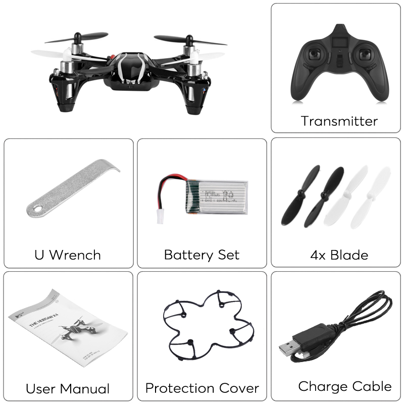 Hubsan X4 H107L Drone (6-Axis Gyro, LED Lights, Brushless Motor, 2.4g Wireless Control, 80m Flight Distance)