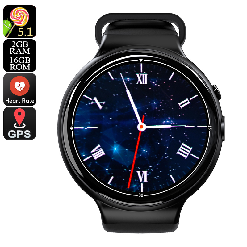 Wholesale I4 Air 3G Android Smart Watch Phone (5MP Camera, Pedometer, Heart Rate Monitor, Black)