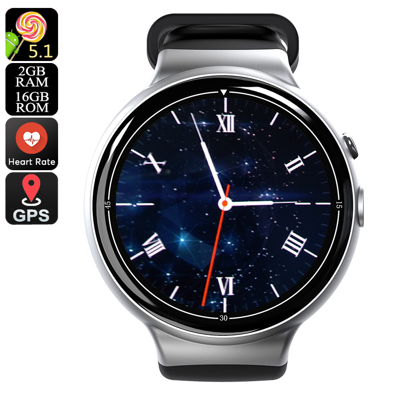 Wholesale I4 Air 3G Android Smart Watch Phone (5MP Camera, Pedometer, Heart Rate Monitor, Silver)
