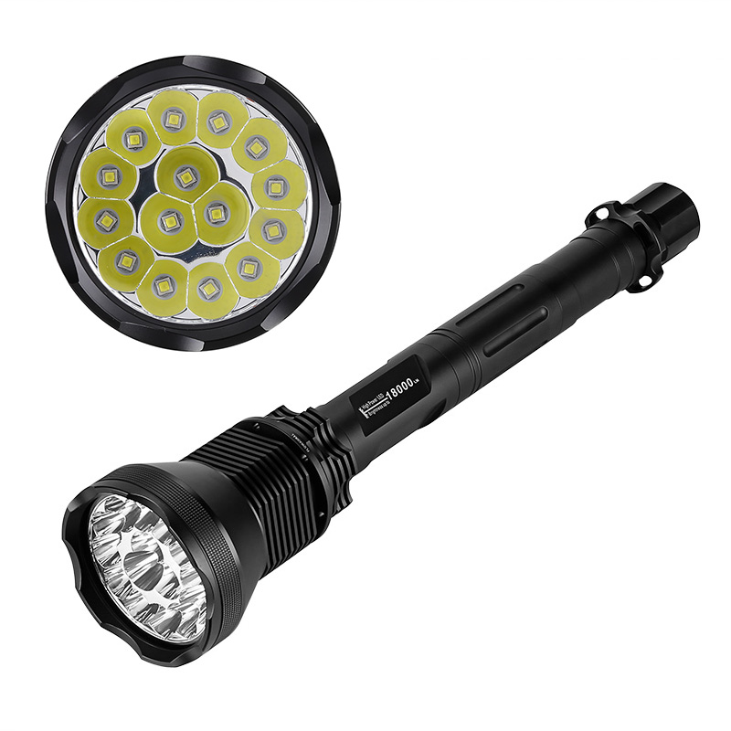 Wholesale LED Flashlight - 18000 Lumen, Aluminum Alloy Body, 15x CREE XM-L T6 LEDs, 5 Light Modes, Reinforced Glass Lens