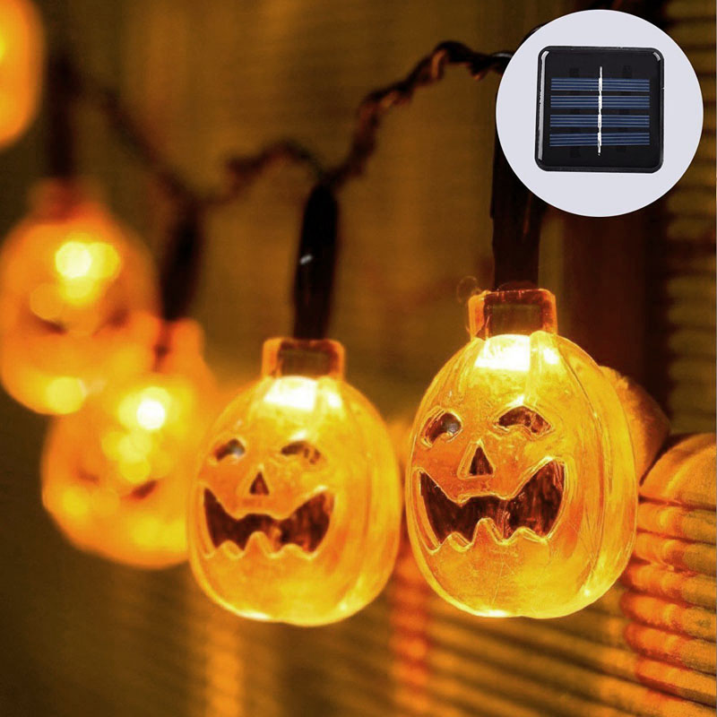 Wholesale Pumpkin Style Solar Powered LED Halloween Decoration Lights (2 Light Strings, 7.5 Meter, Rechargeable)