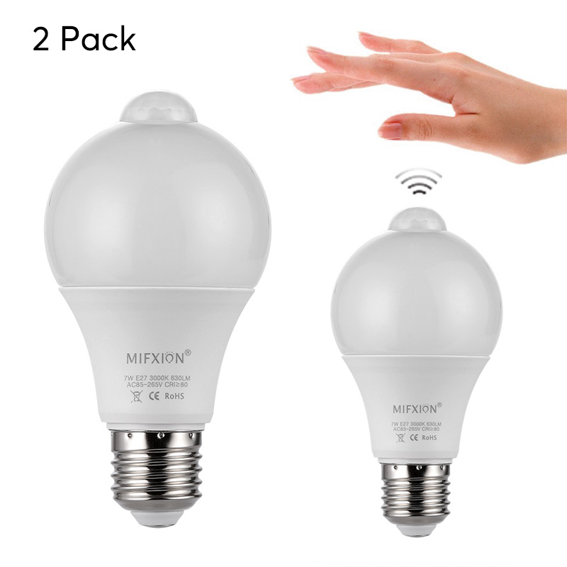 Wholesale E27 LED Light Bulb Pair (Motion Detection, Light Sensor, 2x 630 Lumen, 3000K, 7W)