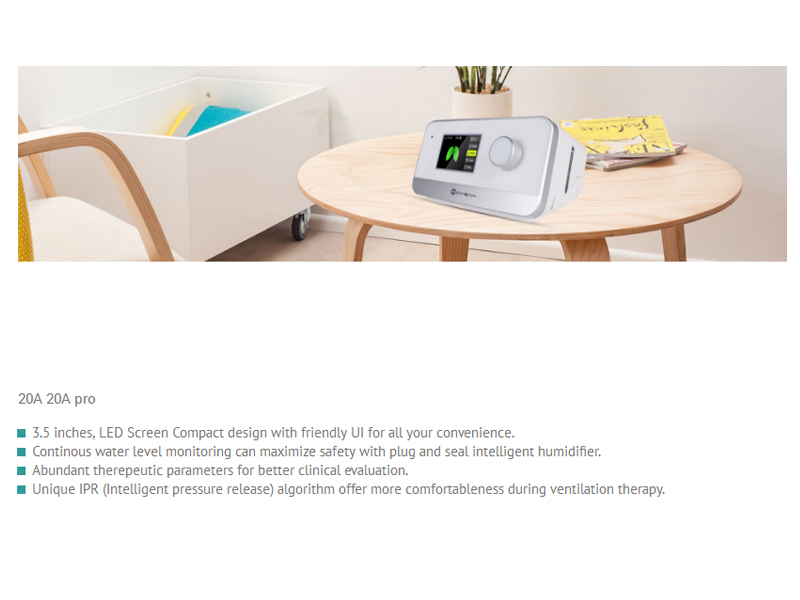 MOYEAH CPAP Ventilator (EPR, IPR, 3.5-Inch Display, Quiet Design, Integrated Air Humidifier, Data Management, SD Card Slot)