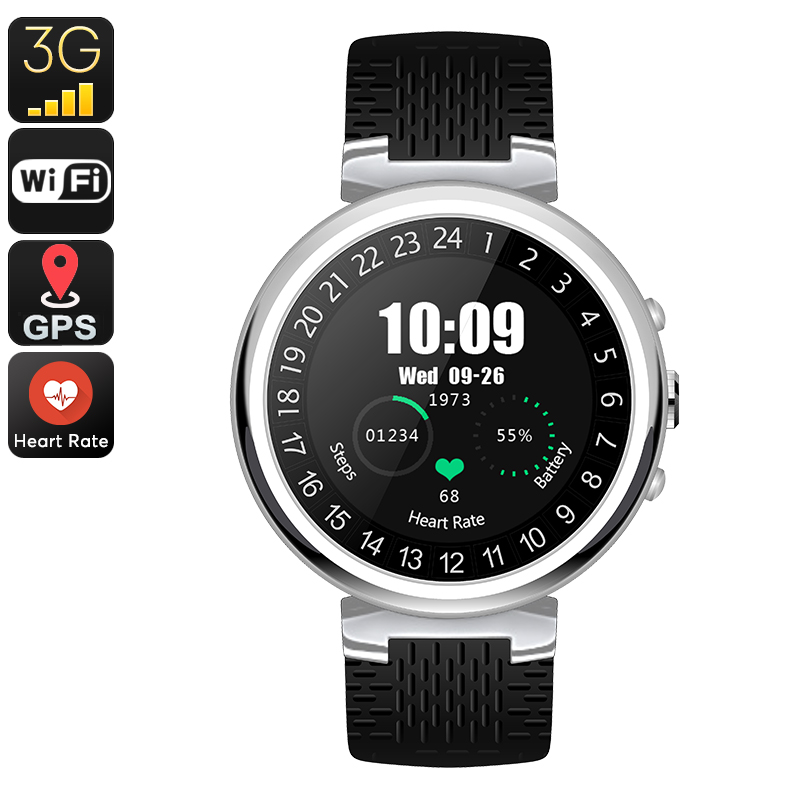 Wholesale Preorder, IQI I6 Smart Watch Phone - Android OS, 1 IMEI, Bluetooth, WiFi, 3G, GPS, Pedometer, 2MP Camera (Silver)
