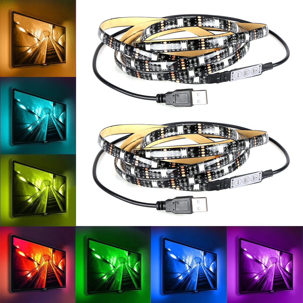 Wholesale RGB LED Light String (2 Strings, 2x 60 LED, 7 Colors, 2 Meter, USB Output)