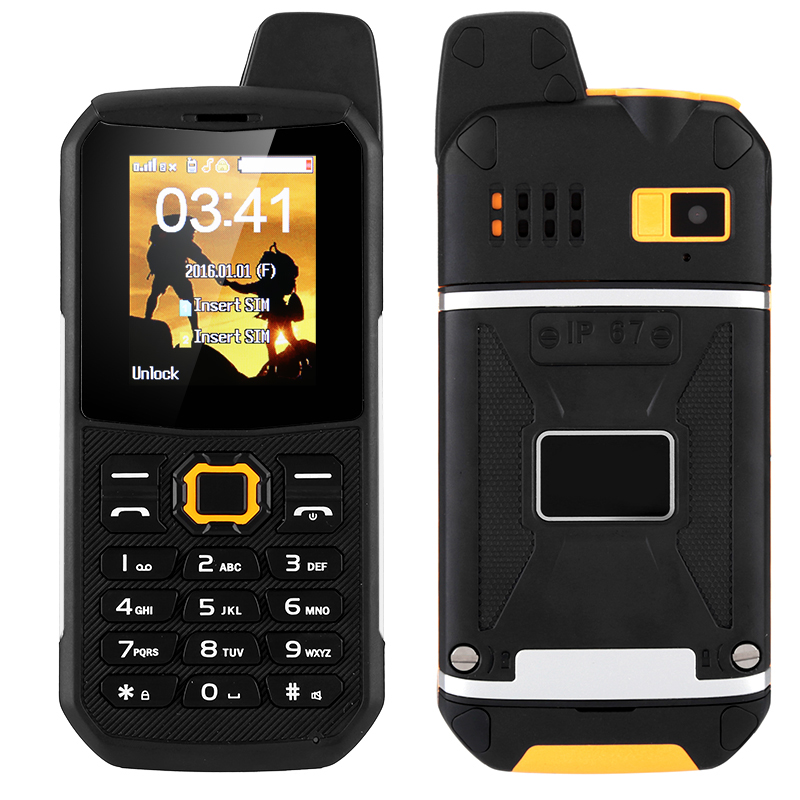Wholesale Rugged Outdoor Phone - 3000mAh, Power Bank Mode, Dual-IMEI, IP67, Walkie-Talkie, Camera (Orange)