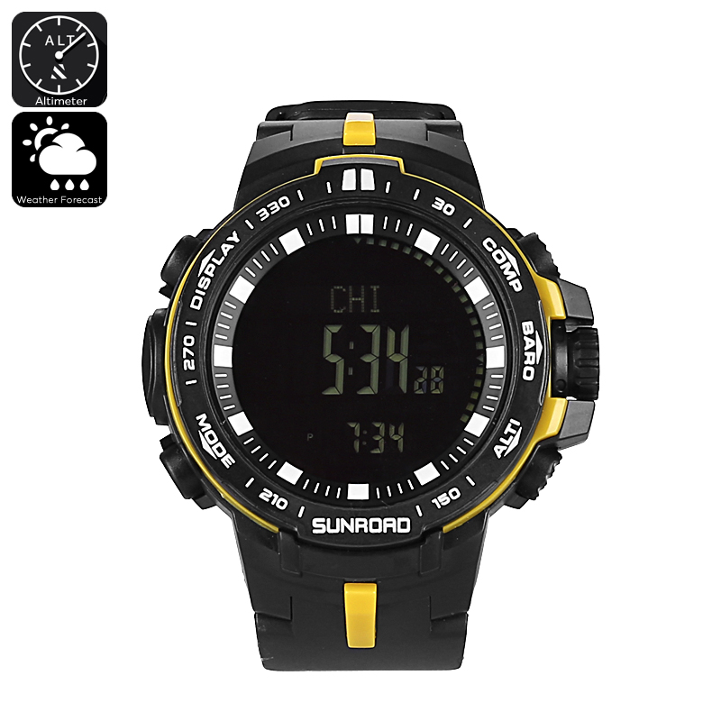 Wholesale Sunroad Outdoor Waterproof Fishing Watch with Altimeter, Barometer, Thermometer, Weather Forecast