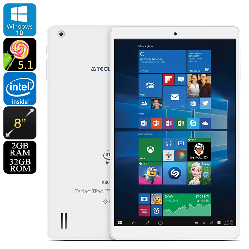 Wholesale Teclast X80 Pro Dual-OS Tablet PC - Windows 10, Android 5.1, HDMI Out, Google Play, Quad-Core CPU, 2GB RAM, 8-Inch IPS Display