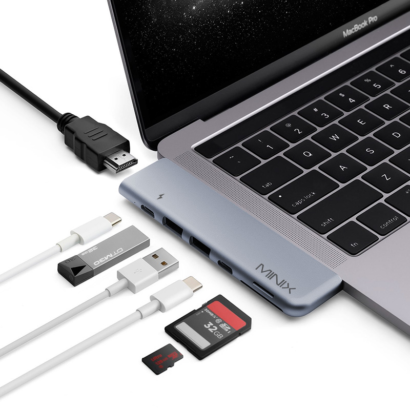 Wholesale USB-C Multiport Adapter for MacBook Pro with HDMI, Thunderbolt 3, USB-C, 2x USB 3.0, Micro SD, Micro SD Card Slot