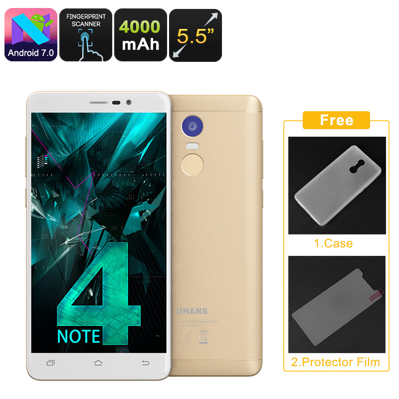 Wholesale Uhans Note 4 5.5 Inch 4G Android 7.0 Smartphone (Quad-Core CPU, 3GB RAM, Dual-IMEI, 13MP Camera, 32GB, Gold)