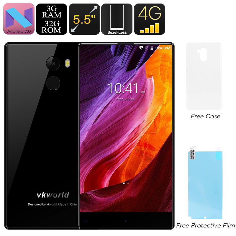 Wholesale VKWorld Mix Plus Android Phone - Bezel Less Display, Android 7.0, Dual-IMEI, 3GB RAM. Quad-Core, 4G, 5.5-Inch (Black)