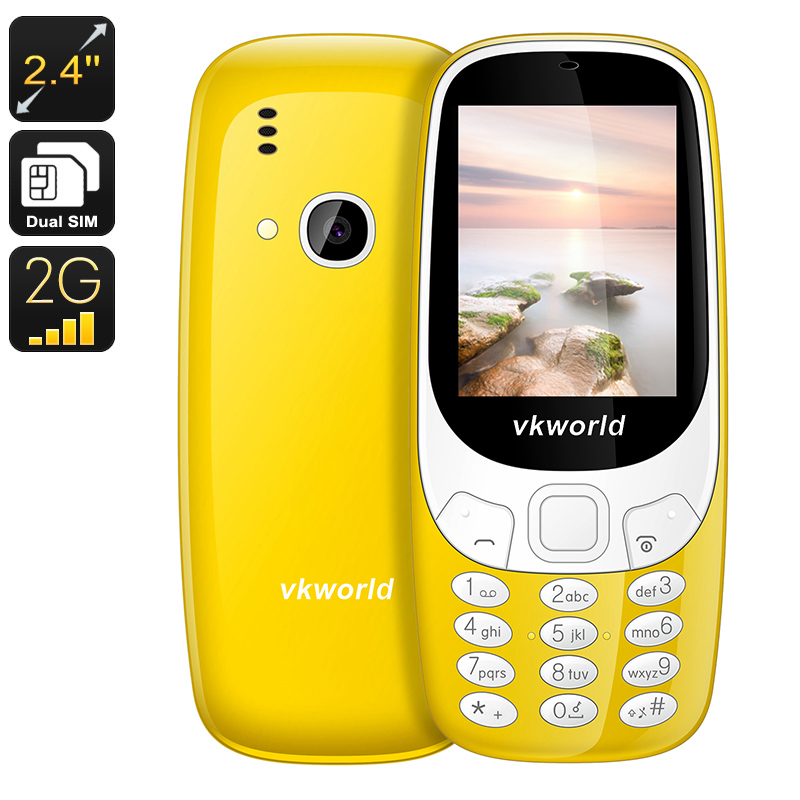 Wholesale VKWorld Z3310 Cell Phone - 1450mAh, Number Pad, 2.4 Inch Display, Dual-IMEI, 2MP Camera, Bluetooth (Yellow)