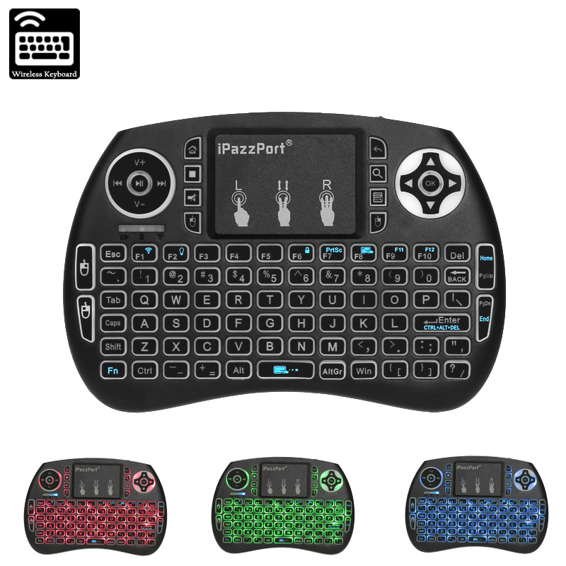 Wholesale Wireless Keyboard iPazzPort - QWERTY, Backlit, 2.4GHz Wireless, 10m Range, 92 Keys, 800mAh, For Windows, MAC, Linux, Android