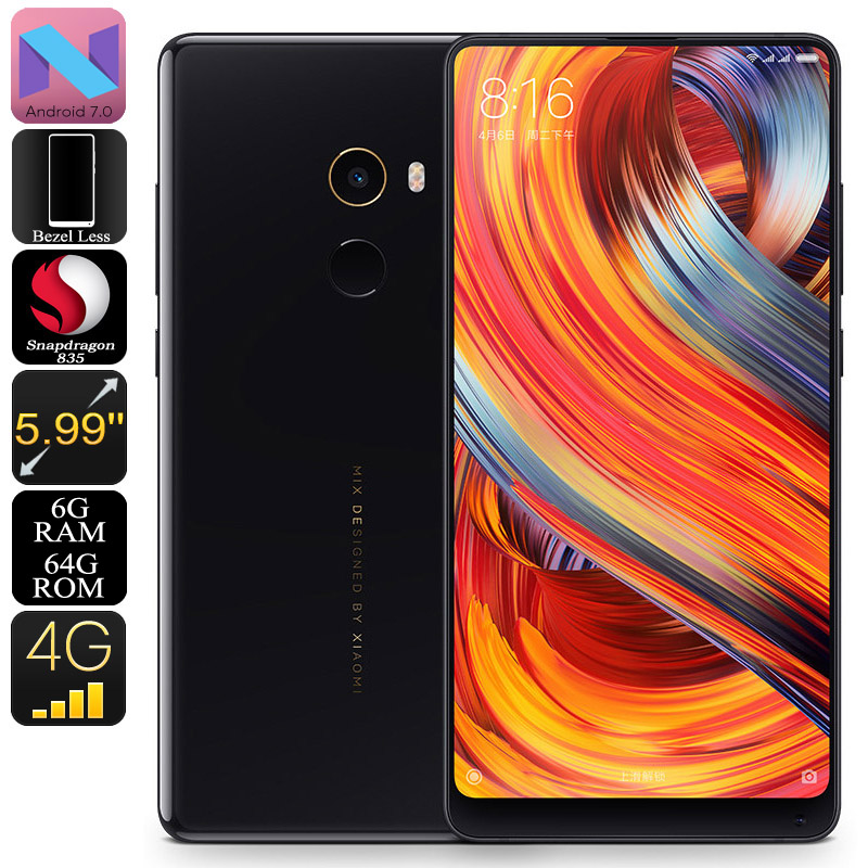 Wholesale Xiaomi Mi Mix 2 Android Smartphone (5.99 Inch Bezel Less, Bluetooth 5.0, Snapdragon 835 CPU, 6GB RAM, 64GB, Black)