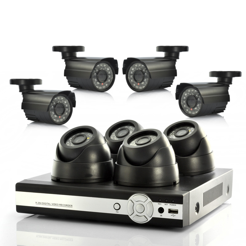 8-Channel DVR Surveillance System (4 Indoor & 4 Outdoor CCTV Cameras, H.264, PAL)