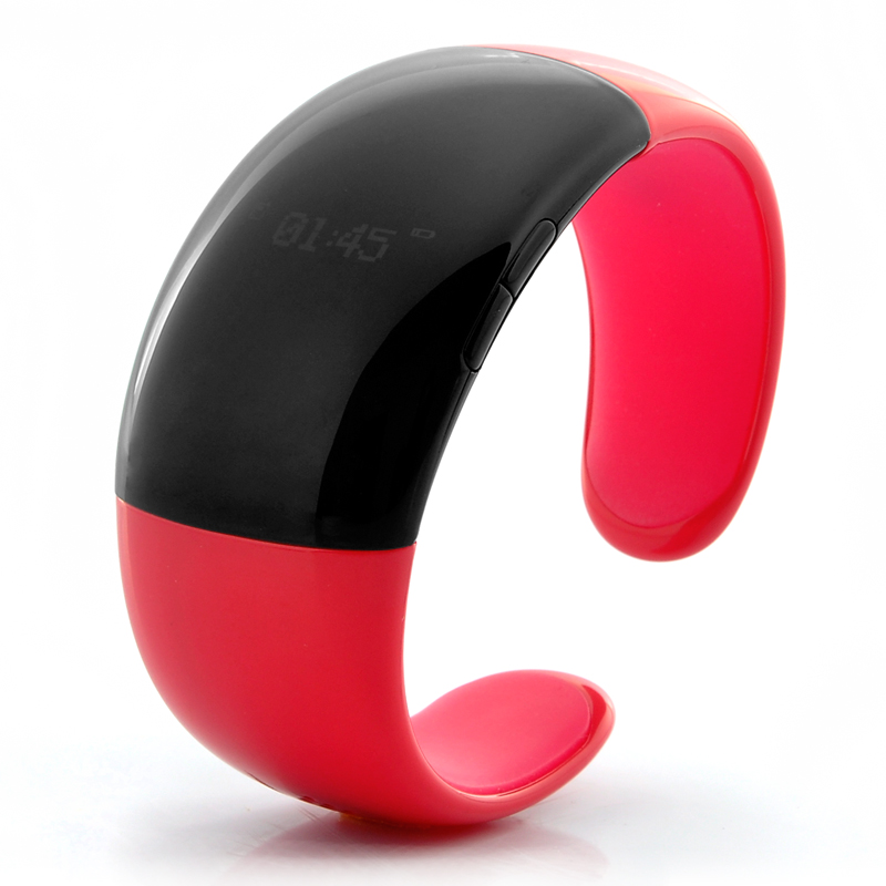 Fashionable Red Bluetooth Bracelet (Call Answer/Talk, Time & Caller ID Display, Security Vibration)
