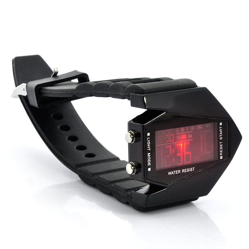 Black Arrow - Boy's Stealth Plane Shaped LED Watch w/ LED Color Changing