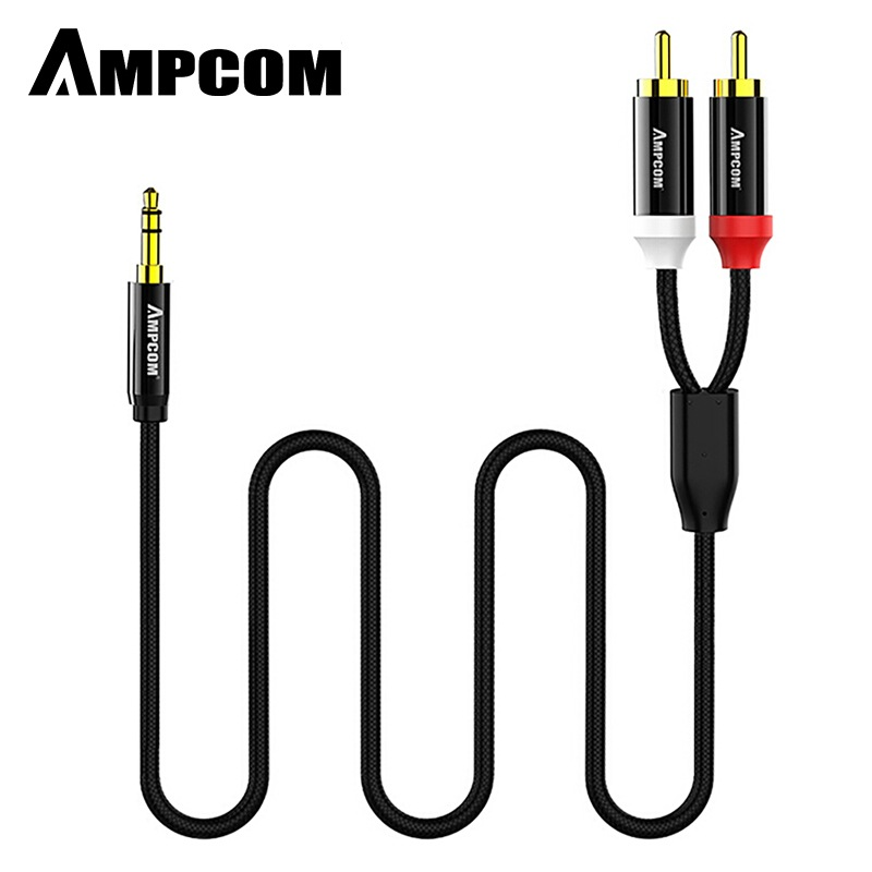 Wholesale AMPCOM 3.5mm Male to 2 Male RCA Audio Cable Gold Plated for Home Stereo Speaker Smartphone - 1M
