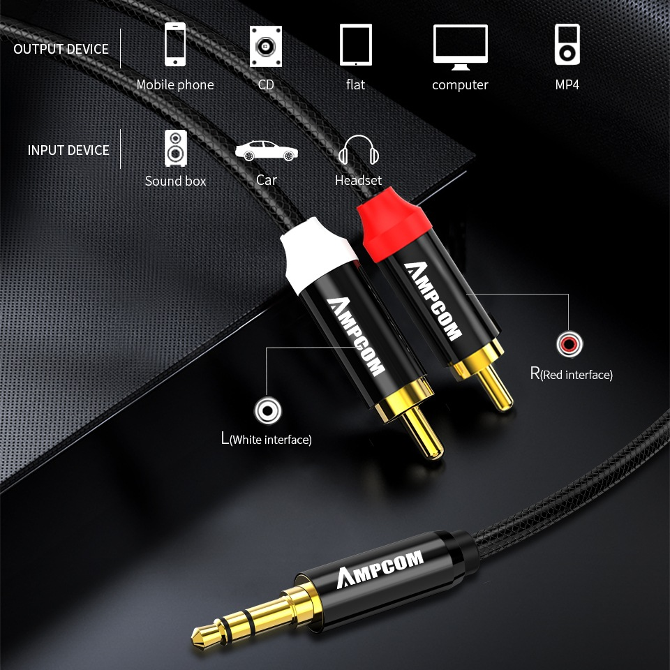 AMPCOM 3.5mm Male to 2 Male RCA Audio Cable Gold Plated for Home Stereo Speaker Smartphone - 1.5M