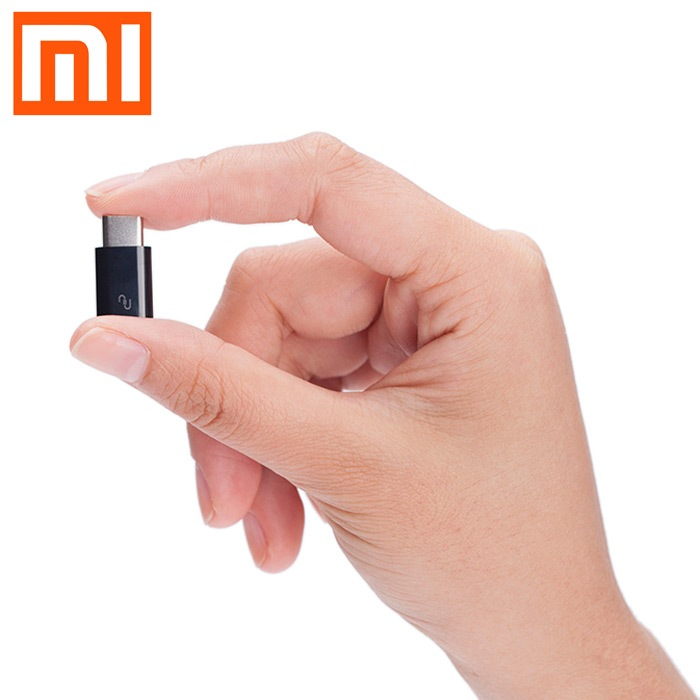 Wholesale Original XiaoMi USB Type-C Male to Micro USB Female Connector - Black