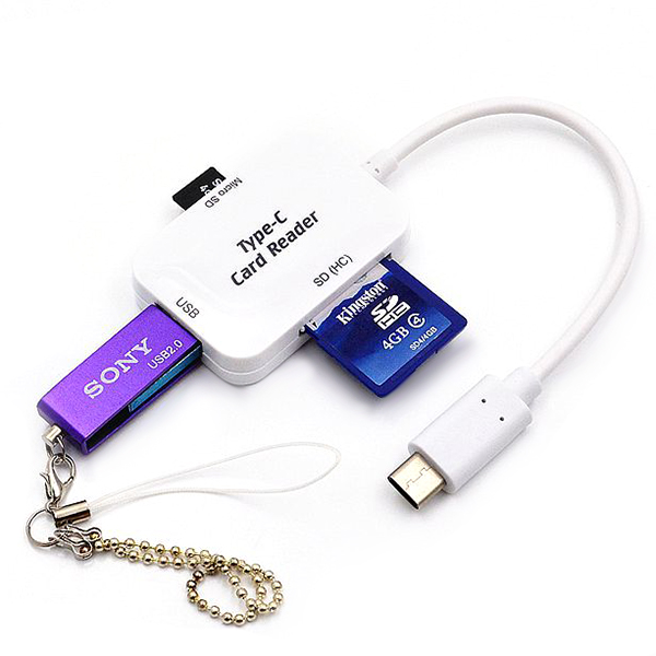 Wholesale USB3.1 Type-C to USB2.0 + Card Reader SD Card / Micro SD Card Adapter - White
