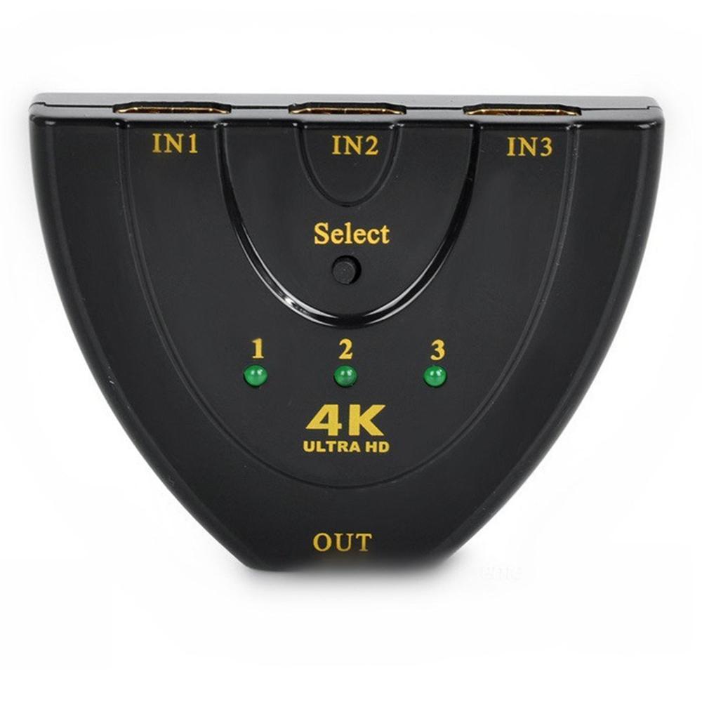3 Port HDMI Switch 1.4b 4K Switcher HDMI Splitter 3 in 1 out Port Hub 1080P - Black