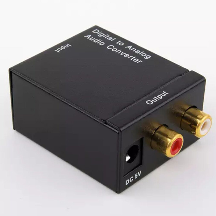 Digital To Analog Fiber Coaxial Audio Converter - Black Host + fiber line + USB