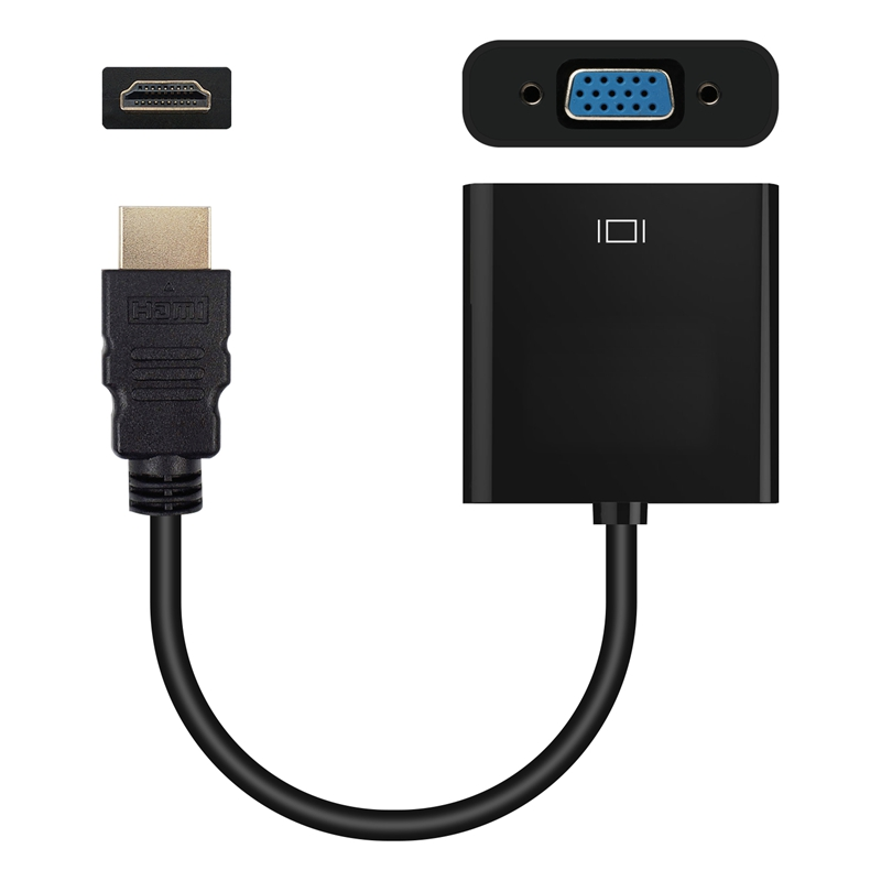 HDMI To VGA Adapter Cable with Audio band Power HDMI To VGA Converter Adapter - Black