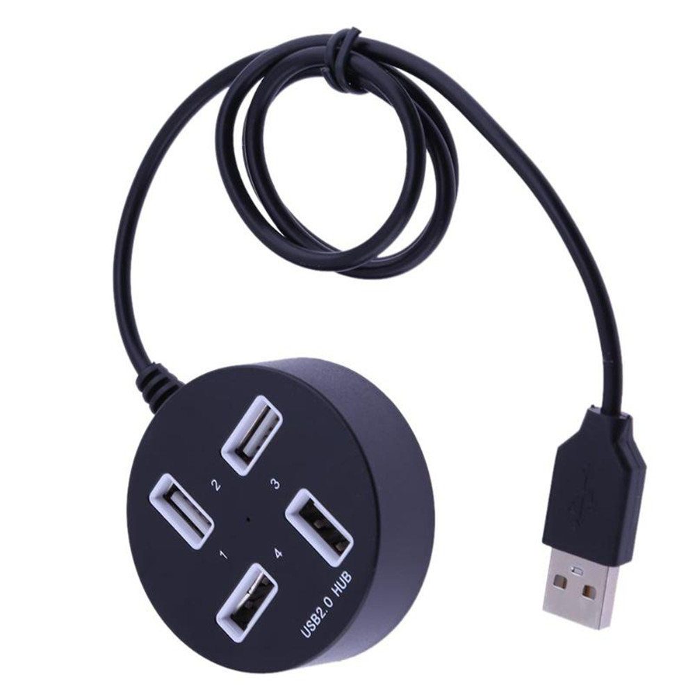 Wholesale Port USB 2.0 HUB Usb Splitter Expansion Round Shaped 4 Port USB2.0 Multi Hub - Black