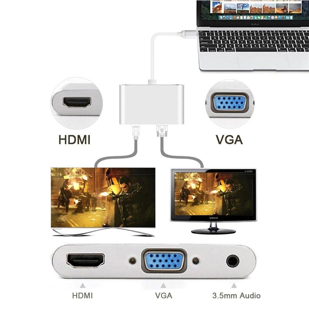 USB Type C to 4K HDMI + VGA + 3.5mm Audio Adapter for MacBook/ChromeBook - Gray