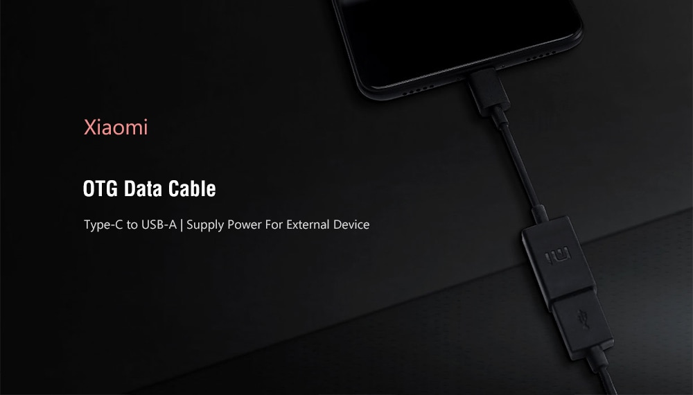 Xiaomi Type-C Male to USB-A Female OTG Data Cable - Black