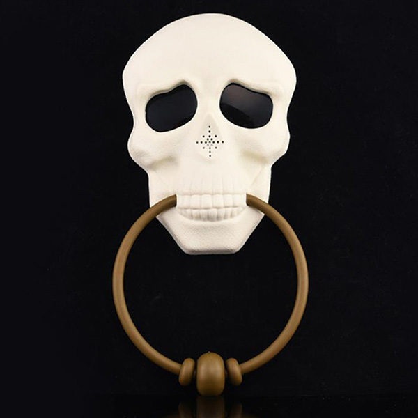 Wholesale Halloween Horror Illumination Sound Skull Electric Doorbell - Warm White