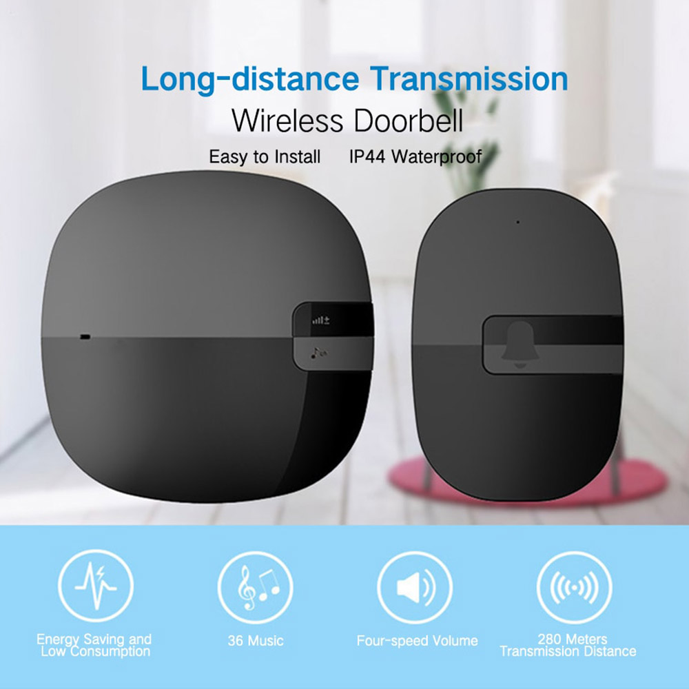 Wireless Exchange Remote Control Home Zone Electronic Doorbell - Black