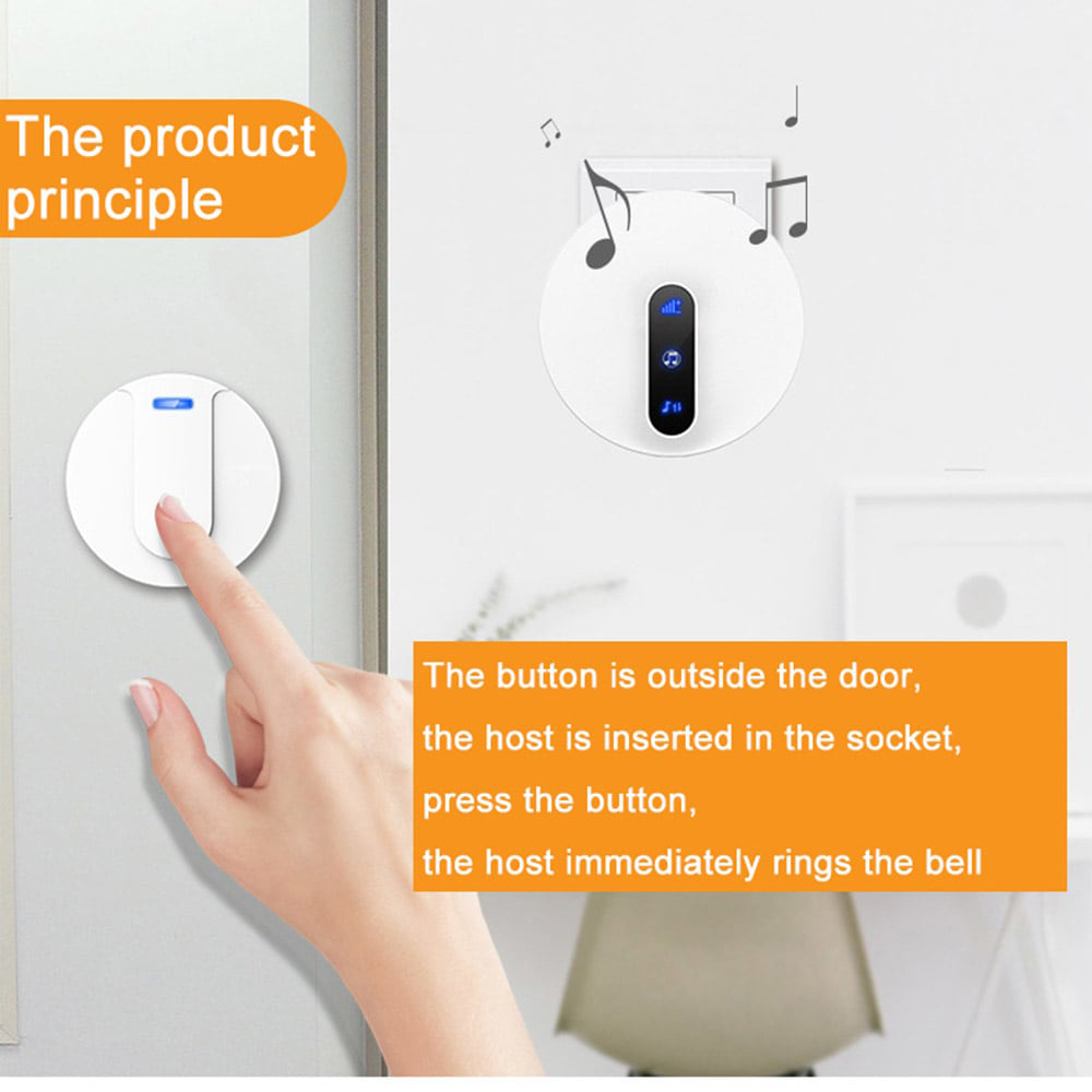Wireless Self-generating Electricity Hotel Home Smart Remote Digital Reminder Doorbell - White