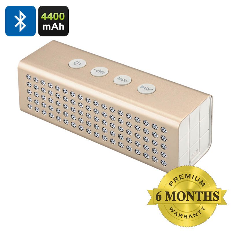 Wholesale Travel Bluetooth Speaker + Power Bank (20W, 4400mAh, Mic, Handsfree, Golden)