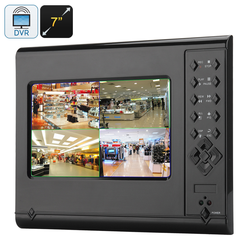 Wholesale 4 Channel H.264 DVR with Intercom, Mic, 7 Inch Touch Screen  - 1024x768