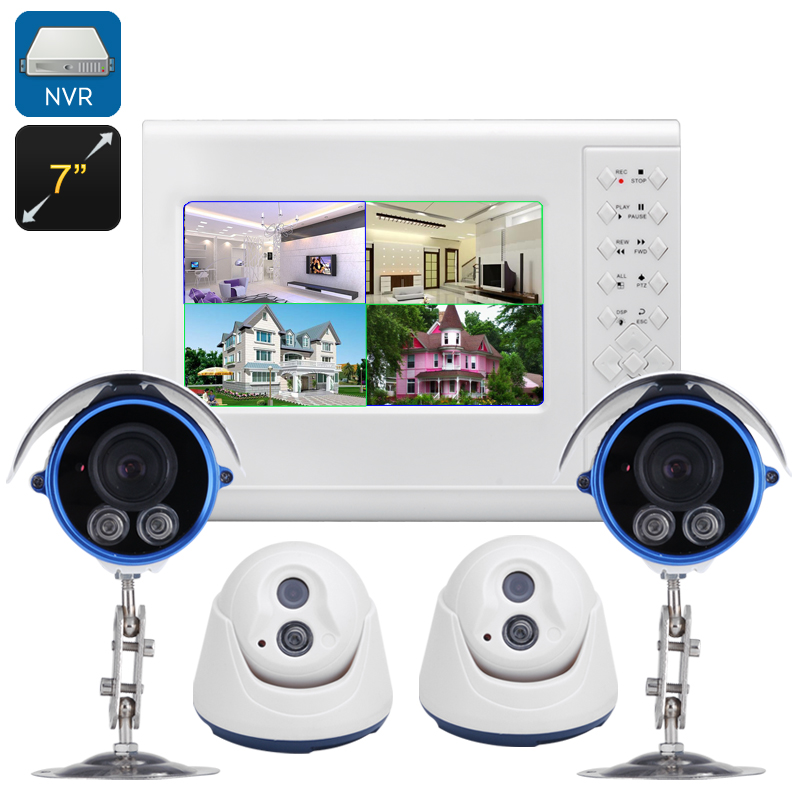 Wholesale 4 Channel NVR Kit with 2 Indoor and 2 Outdoor 720P Cameras (PoE, 7 Inch Touchscreen, Night Vision, ONVIF 2.0)