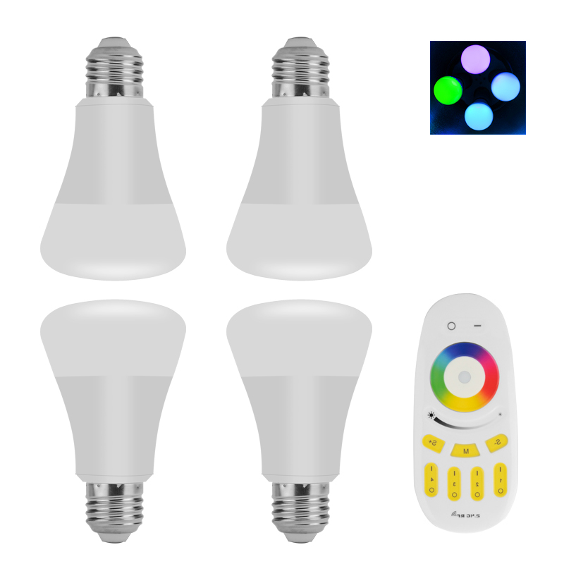 Wholesale 4 E27 RGBW LED Bulbs With Remote (6W, 500 Lumen, Adjustable)