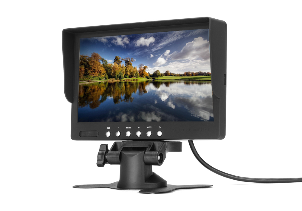 7 Inch Car LCD Monitor with Dual Video AV Input for DVD Player, Sat Nav, Rear Mirror Camera, Dash Cam