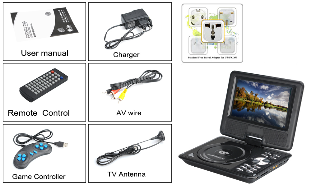 images/wholesale-2016/7-Inch-Kids-Portable-DVD-Player-Wide-screen-TFT-Color-Display-eBook-FM-Radio-Game-Controller-TV-Antenna-Black-plusbuyer_7.jpg
