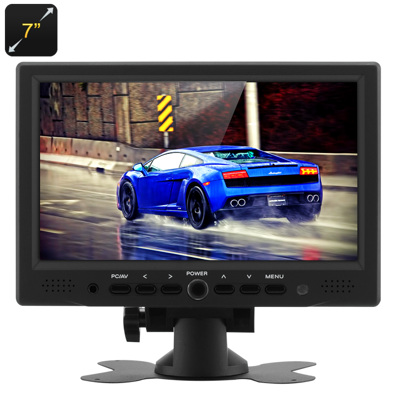 Wholesale 7 Inch TFT LCD Car Monitor with Remote Control (800x480, HDMI/AV/VGA Video In, Rotate Stand)