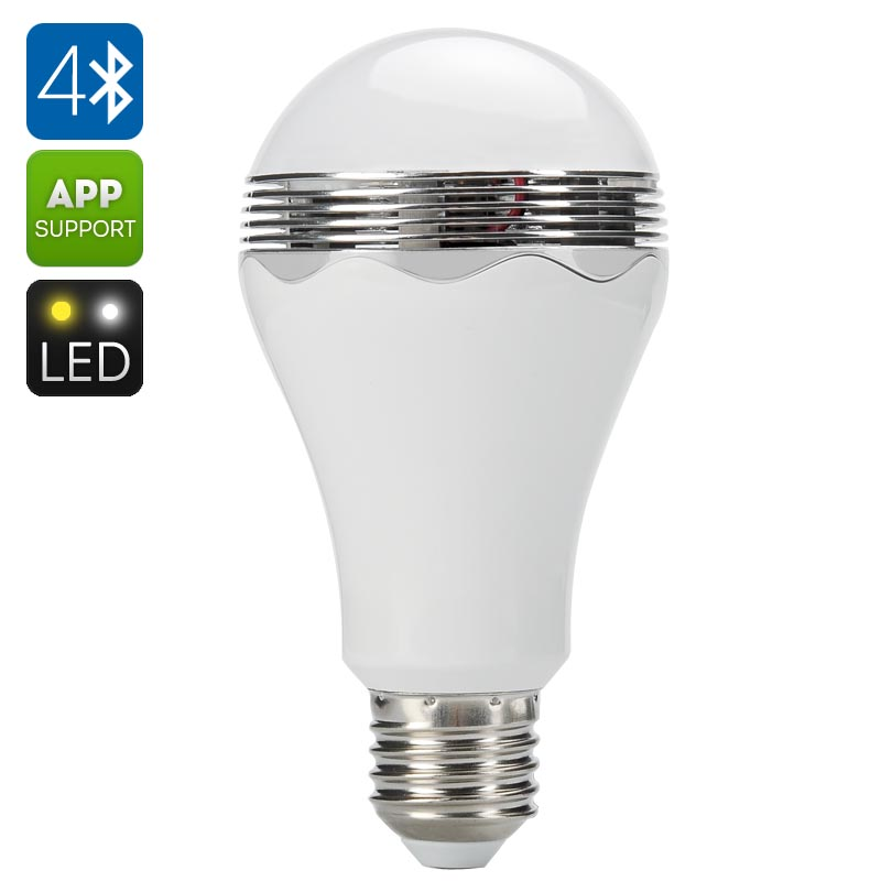 Wholesale E27 LED Light Bulb + Bluetooth Speaker with Android/iOS Remote Control (5W, 350 Lumens)
