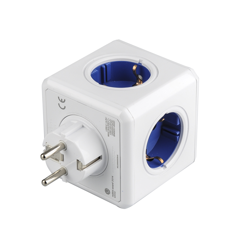 Wholesale Allocacoc PowerCube EU Original USB Plus Socket (1 To 4 EU Multiplier, 2 USB, 16A, 230V, Grounded, Child Proofing)