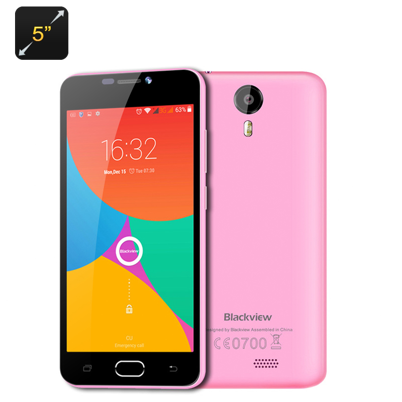 Wholesale Blackview BV2000 5 Inch Dual SIM 4G Smartphone (720p, Android 5.1, Quad Core CPU, Gesture Sensing, Smart Wake, Pink)