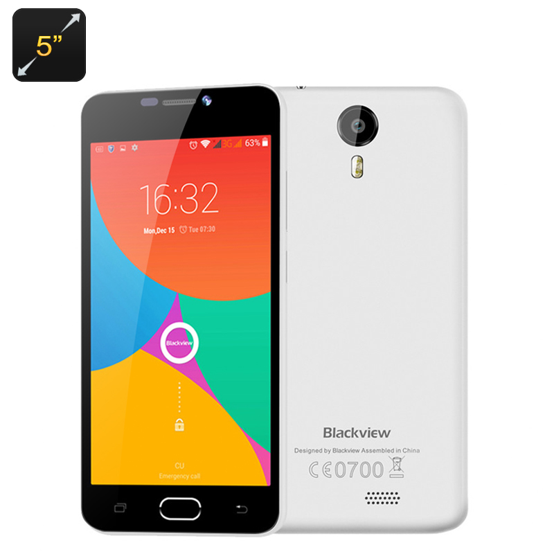 Wholesale Blackview BV2000 5 Inch Dual SIM 4G Smartphone (720p, Android 5.1, Quad Core CPU, Gesture Sensing, Smart Wake, White)