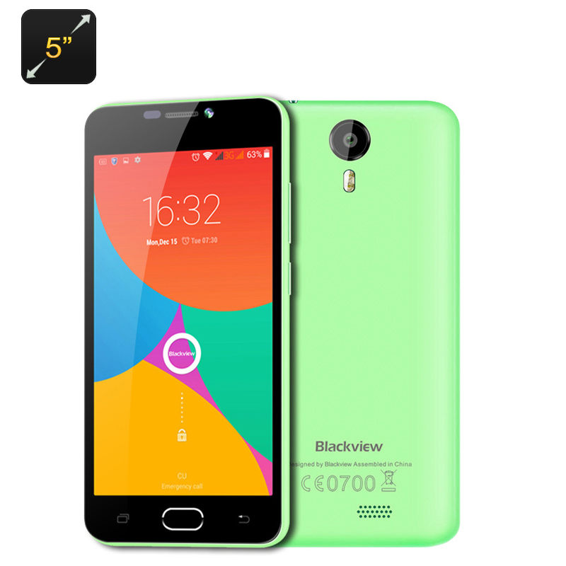Wholesale Blackview BV2000 5 Inch Dual SIM 4G Smartphone (720p, Android 5.1, Quad Core CPU, Gesture Sensing, Smart Wake, Green)