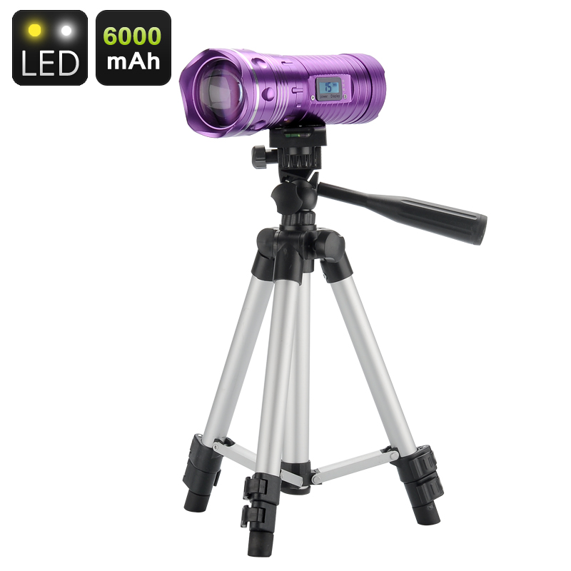 Wholesale White/Blue LED Fishing Flashlight with Tripod and LCD Display (200 Lumens, 6000mAh, XML CREE Q5 LEDs)