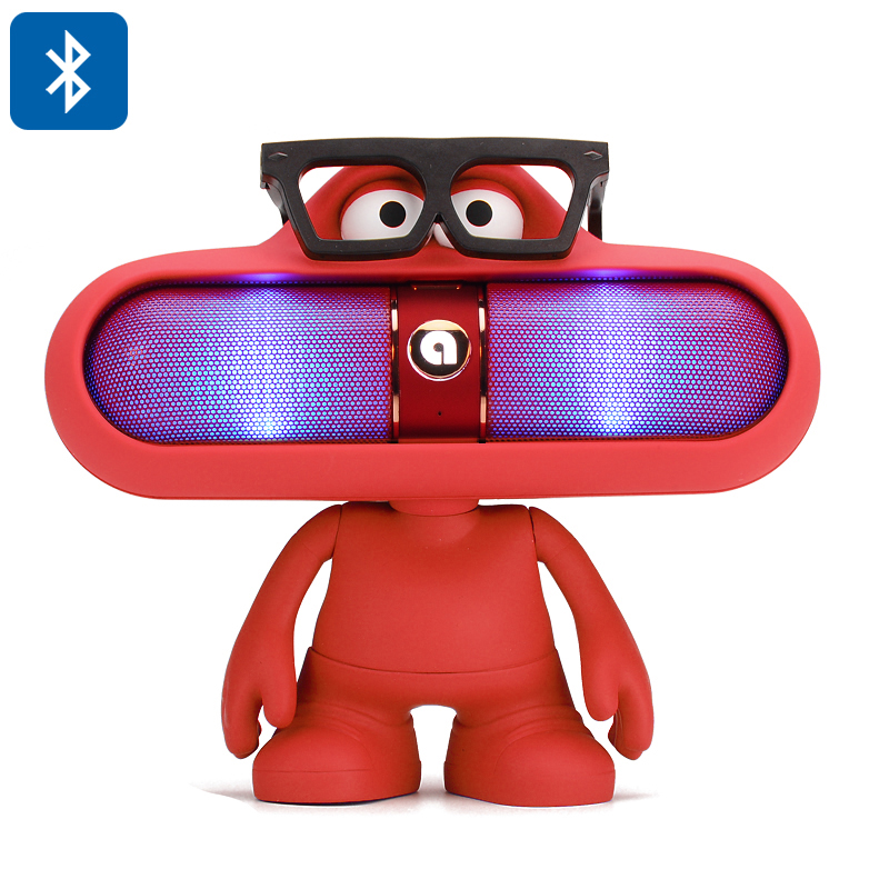 Wholesale Dude Doll Cute Hands Free Bluetooth 2.1 Speaker + LED Light (USB, Aux In, 2000mAh, Red)